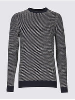 Limited Edition Cotton Blend Textured Slim Fit Jumper