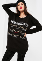Missguided Black Squad Goals Christmas Sweater