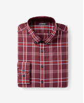 Express extra slim button collar plaid shirt