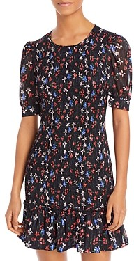 Aqua Floral Print Mini Dress - 100% Exclusive