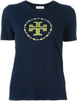Tory Burch embroidered logo T-shirt - women - Cotton/Polyester - XS