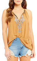 O'Neill Rami Embroidered Tie-Front Tank Top