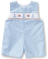 Edgehill Collection Baby Boys 3-9 Months Nautical Striped Embroidered Shortall