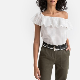 La Redoute Collections Cotton Checked Off the Shoulder Ruffled Blouse