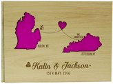 Darling Souvenir Personalized State Engraved Wood Wooden Wedding Guestbook Rustic Sign In Guest Book- 50 Pages