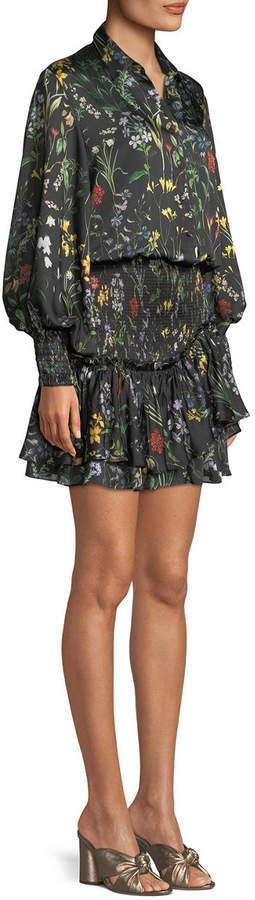 Alexis Rianna Long-Sleeve Floral-Print Satin Dress