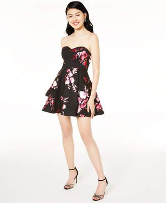 B. Darlin Juniors' Strapless Foil-Print Dress