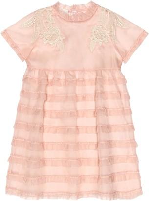 Gucci Kids Lace-trimmed silk dress