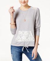 Hippie Rose Juniors' Lace-Trim Sweatshirt