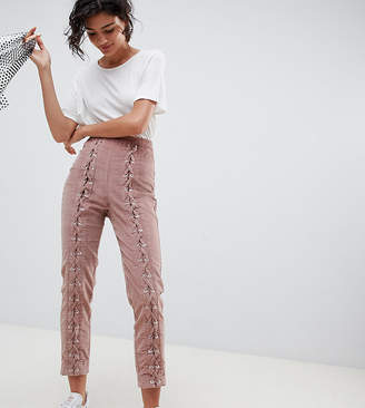 Asos Design DESIGN slim cord trouser with lace up detail-Pink