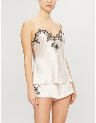 Selfridges Delphine lace-trimmed silk-satin pyjama top