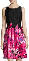 Chetta B Floral-Print Fit-and-Flare Dress, Multi Pattern