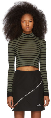 Alexander Wang Khaki Striped Slub Mock Neck Sweater