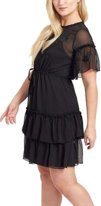 Max Sport Women's Casual Dresses BLACK - Black Floral-Embroidered Ruffle Chiffon Empire-Waist Dress - Women