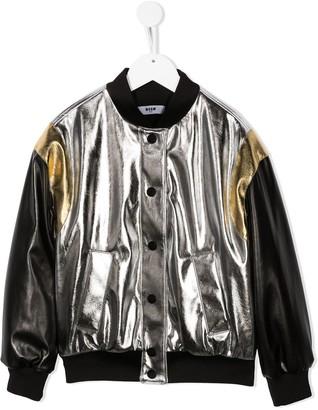 Msgm Kids Metallic Logo Print Bomber Jacket