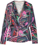 Emilio Pucci Wrap-effect Printed Stretch-jersey Top - Petrol