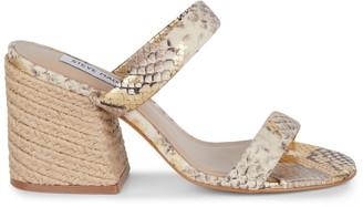 Steve Madden Marcella Snakeskin-Embossed Leather Block-Heel Sandals