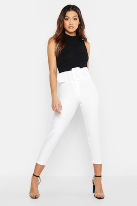 boohoo Super High Waisted Belted Peg Pants