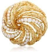 Christian Dior 18K Yellow Gold and Diamond Swirl Brooch
