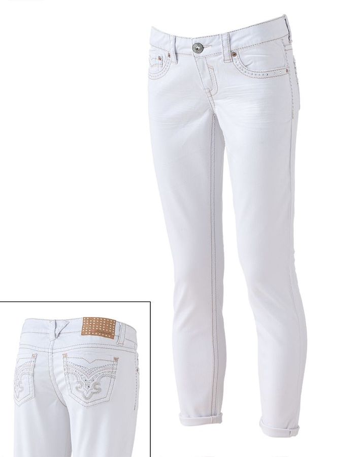 Hydraulic lurex studded skinny ankle jeans - juniors
