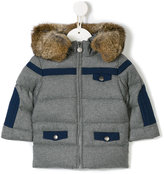 Tartine et Chocolat faux fur trim hooded coat