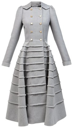 Loewe Double-breasted Banded Wool-blend Fresco Dress - Grey