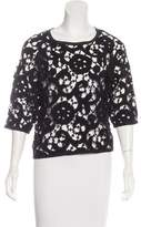 Isabel Marant Leather-Trimmed Lace Top