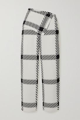 Stella McCartney Net Sustain Checked Stretch-knit Wide-leg Pants - White