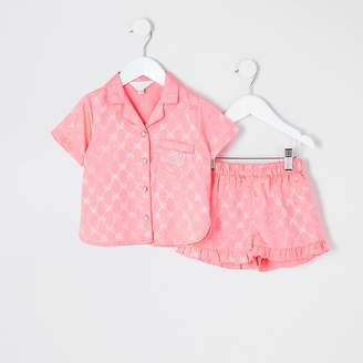 River Island Mini girls coral RVR satin pyjamas