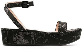 Emilio Pucci Scorci Fiorentini-print flatform sandals
