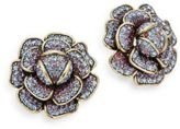 Heidi Daus Multicolored Crystal Flower Earrings