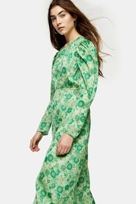 Topshop Green Floral Print Long Sleeve Midi Dress
