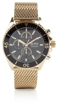 BOSS Chronograph watch in gold-plated steel with mesh strap