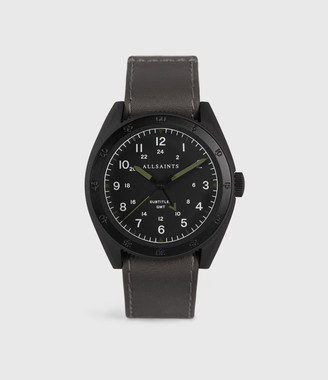AllSaints Subtitled GMT IV Matte Black Stainless Steel and Slate Leather Watch