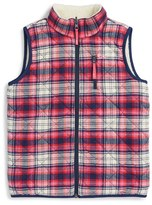 Vineyard Vines Girl's Reversible Plaid Faux Shearling Vest