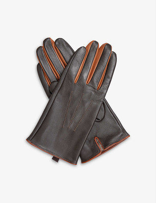 Dents Contrast-detail triple-stitch leather gloves
