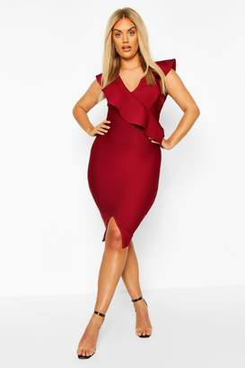 boohoo Plus Sculpt Ruffle Bandage Dress