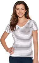 M&Co V neck stripe top