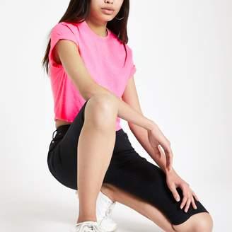 River Island Womens Pink short sleeve crop T-shirt