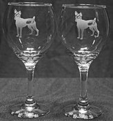Muddy Creek Reflection Toy Fox Terrier Dog Laser Etched Large Red Wine Glass Set (2,)