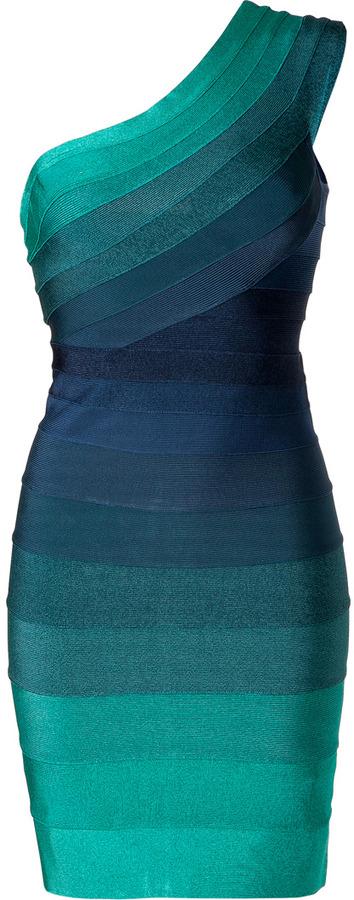 Herve Leger Tonal Water Blue One Shoulder Bandage Dress