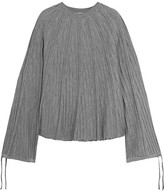 Chloé Ribbed Wool-jersey Sweater - Gray