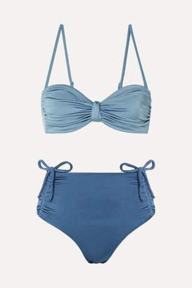 Leslie Amon - Thea Ruched Two-tone Bandeau Bikini - Blue