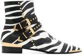 Versace zebra print ankle boots