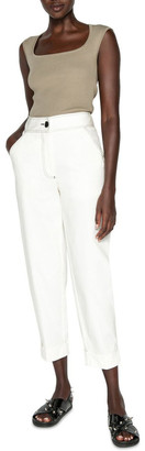 Cue Topstitched Cropped Pant