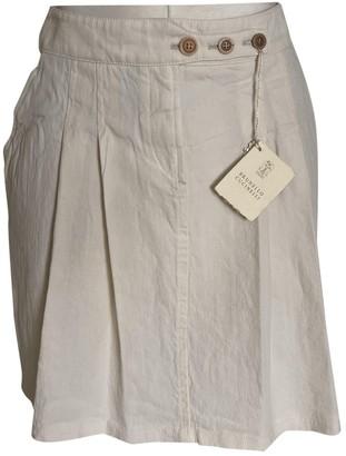 Brunello Cucinelli White Linen Skirt for Women