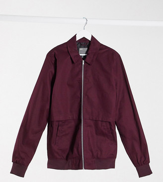 ASOS DESIGN Tall harrington jacket with storm vent in burgundy