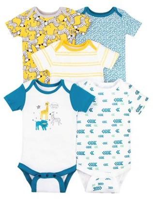 Little Star Organic Baby Boy 100% Organic Cotton Short Sleeve Bodysuits, 5-pack