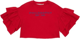 Philosophy di Lorenzo Serafini Cropped Logo Print Cotton Sweatshirt