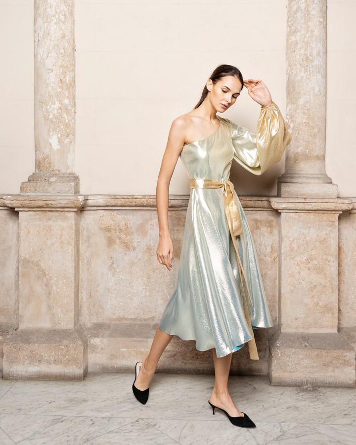 Adriana Iglesias Louise Silk Lame Midi Dress